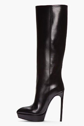 Saint Laurent Black Leather Pointed Janis Boots