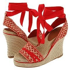 Kate Spade Petunia (Red/Natural Woven Leather) - Footwear