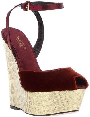 Giambattista Valli crocodile print wedge sandal
