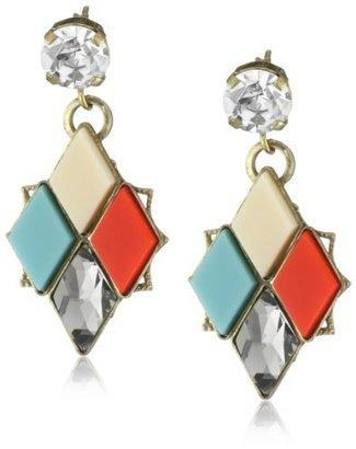 Anton Heunis Inca Goddess Small Multi-Colored Mosaic Diamond Drop Earrings