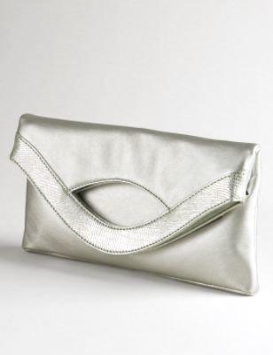 Ann Taylor Loft Croco Envelope Clutch