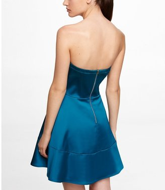 Express Strapless Satin Fit And Flare Dress
