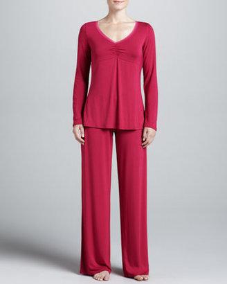 La Perla Rosa Jersey PJ Set, Cerise