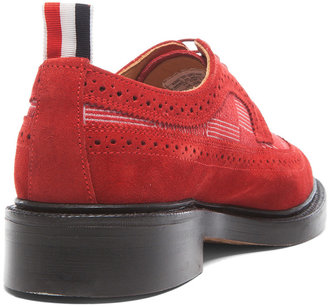 Thom Browne Long Wing Anchor Suede Shoes in Red