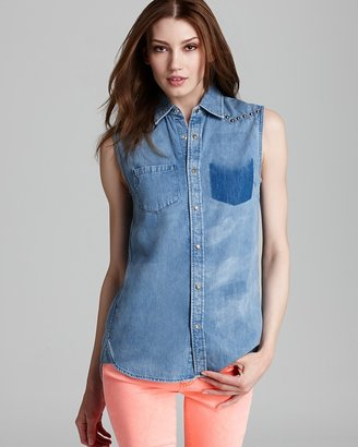 Vince Camuto Two by Chambray Button Down Blouse