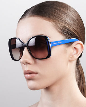 Marc Jacobs Oversized Oval Sunglasses, Havana/Blue/White