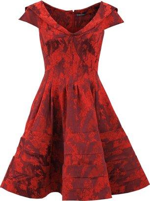 Zac Posen Jacquard Seamed Cocktail Dress