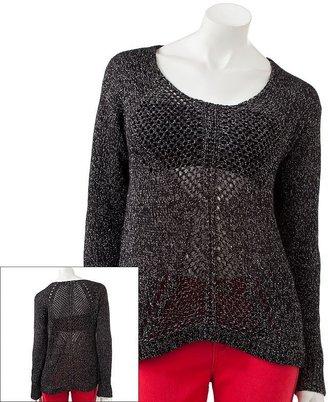 Rock & Republic lurex open-work sweater