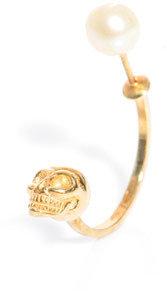 Delfina Delettrez Pearl and gold skull single earring