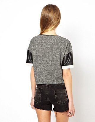 Noisy May Sweat Top With Faux Leather Sleeves