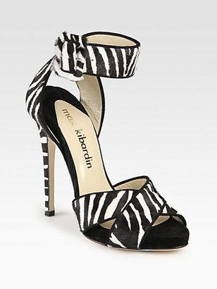 Max Kibardin Anastasia Zebra-Print Pony Hair & Suede Sandals