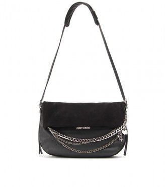 Jimmy Choo SMALL BIKER LEATHER AND SUEDE SHOULDER BAG