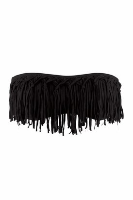 L-Space Dolly Knotted Fringe Bandeau Bikini Top in Black