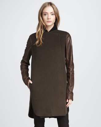 Vince Leather-Sleeve Coat