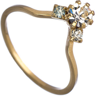 Serefina Gold and Crystal Teddy Midi Ring