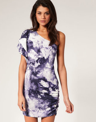 Asos One Shoulder Dress in Abstract Print
