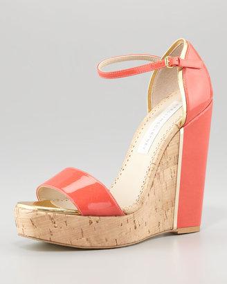 Stella McCartney d'Orsay Patent Cork Wedge, Coral