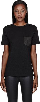 Alexander Wang Black Jersey Contrast-Pocket T-Shirt