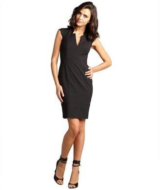 French Connection black cutout v-neck 'Almonda' cap sleeve stretch dress