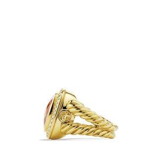 David Yurman Albion Ring with Morganite and Diamonds in Gold