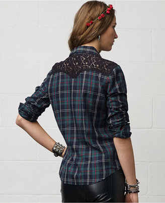 Denim & Supply Ralph Lauren Long-Sleeve Plaid Lace-Trim Western Shirt