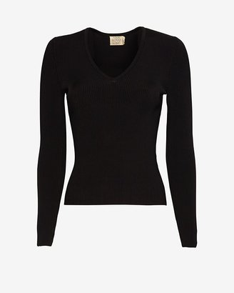 Torn By Ronny Kobo Exclusive Ribbed V Neck Top: Black