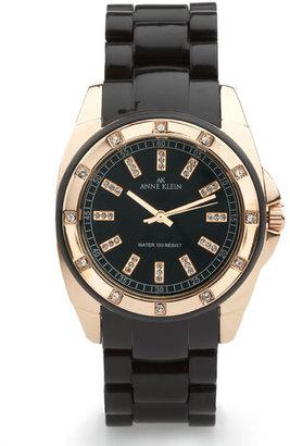 Anne Klein Black & Rosegold Plastic Sport Watch With Crystals