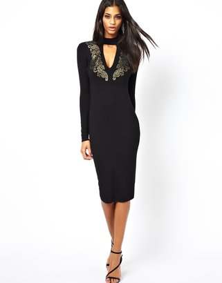 Asos Polo Deep Plunge Embellished Body-Conscious Dress - Black