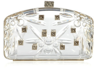 Valentino Crystal-embellished perspex clutch
