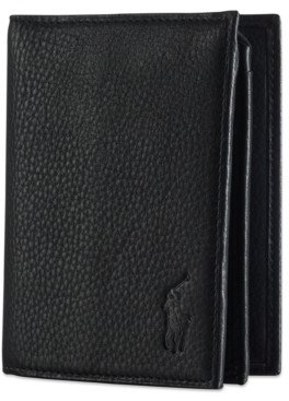 Polo Ralph Lauren Men's Wallet, Pebbled Bifold Wallet with Window