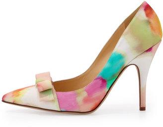 Kate Spade Lillia Floral-Print Silk Bow Pump