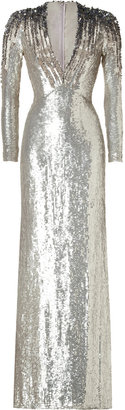 Jenny Packham Silver Sequined Silk Gown