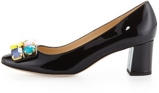Kate Spade Deana Crystal-Buckle Patent Pump