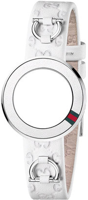 Gucci Watch Band Strap and Bezel, Women's U-Play White Guccissima Leather 27mm YFA50031 $195 thestylecure.com