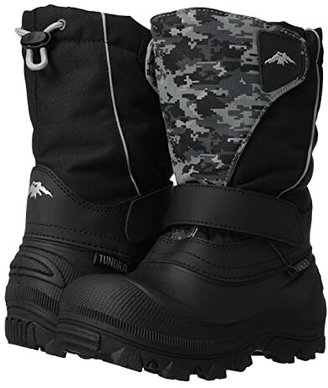 Tundra Boots Kids Quebec Wide (Toddler/Little Kid/Big Kid) (Black/Grey Camo) Boys Shoes