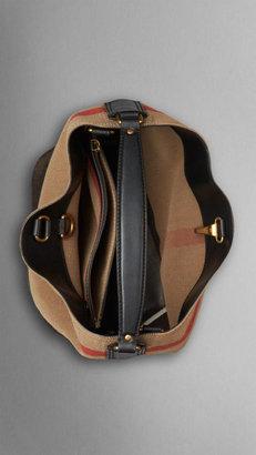 Burberry Medium Canvas Check Hobo Bag