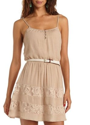 Charlotte Russe Belted Lace Inset Tank Dress