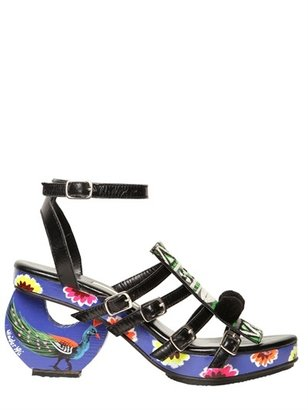 Meher Kakalia - 80mm Embroidered Calf & Wood Sandals