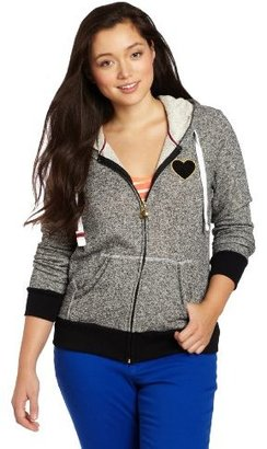 Southpole Juniors Plus Size Comfy Full Zip with Heart Embroidery at Chest Hoodie