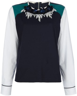 Marni embellished colour block top