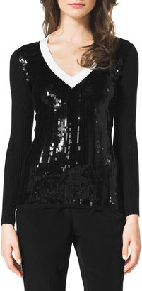 MICHAEL Michael Kors Ribbed Sequin-Front Sweater