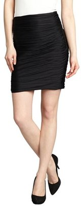 Halston black jersey knit accordion pleated ruched skirt