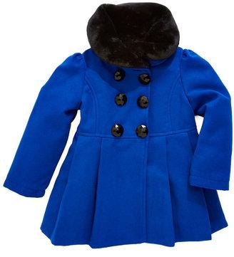 Hawke & Co Girls 2-6X Pea Coat With Fur Collar