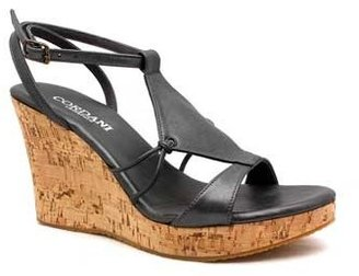 "Cordani Weasy"" Pewter Leather Cork Wedge Sandal"