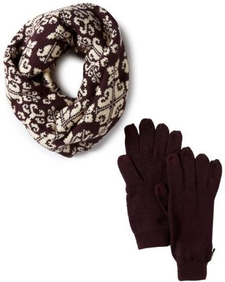 Muk Luks Women's Swirly Scrolls Funnel Scarf with Texting Glove Set