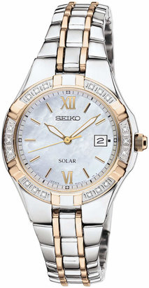 Seiko Watch, Women's Solar Diamond Accent Two Tone Stainless Steel Bracelet 27mm SUT068 $425 thestylecure.com