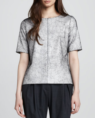 Milly Printed Leather Tee
