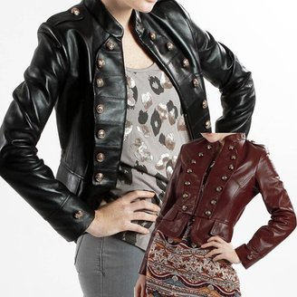 L&B TRADING United Face Women's Lambskin Leather Military Jacket $187.99 thestylecure.com