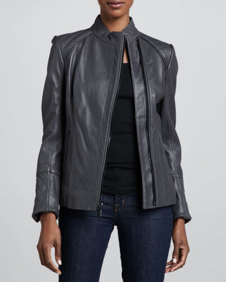 Neiman Marcus Quilted-Back Stand-Collar Leather Moto Jacket