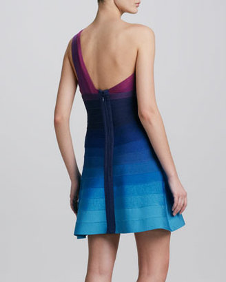 Herve Leger One-Shoulder Ombre Fit-and-Flare Bandage Dress